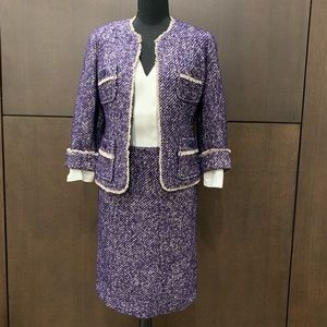 Talbots Petites Skirt Wool Purple Tweed Suit Sz 2P